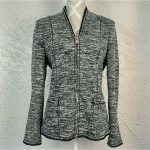 Karl Lagerfeld Black White Marled Knit Jacket